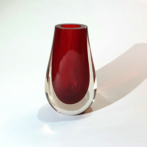 Whitefriars / Baxter Ruby Red Teardrop Vase 9572 - Be Bold As Brass