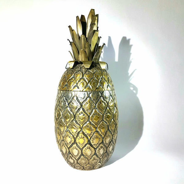 Brutalist Silver Plated Brass Metal Pineapple Ice Bucket Circa 1960's Italy