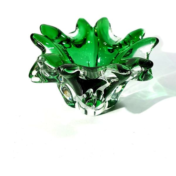 Lednicke Rovne of Slovakia Bold Emerald Green and Clear Glass Small Ashtray Circa 1960