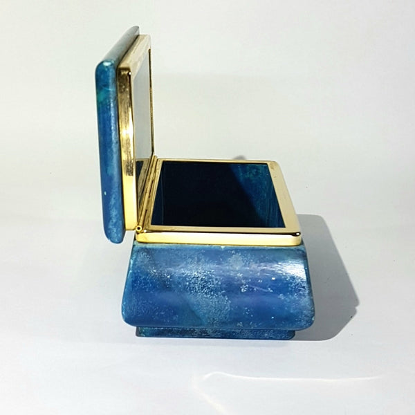 Blue Alabaster Jewellery Decorative Box From Italy Circa 1950's
