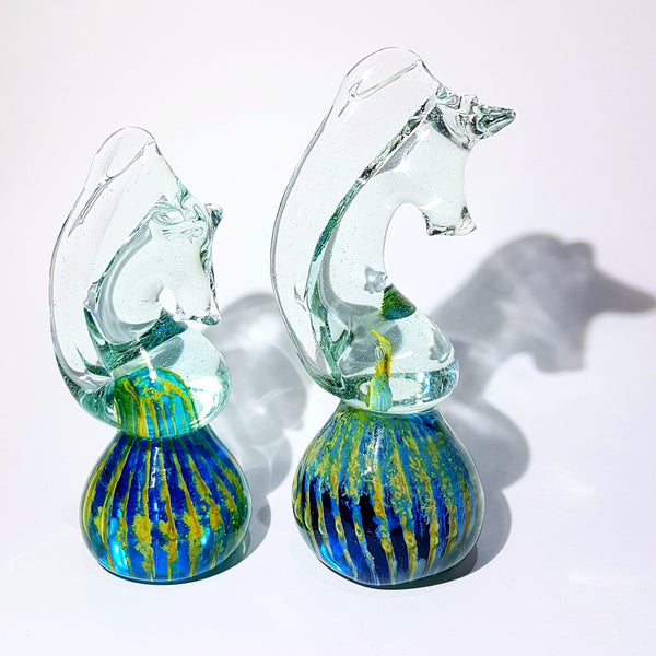 A Beautiful Pair Of Mdina Seahorse Paperweights / Sculptures Circa 1970's Malta Signed