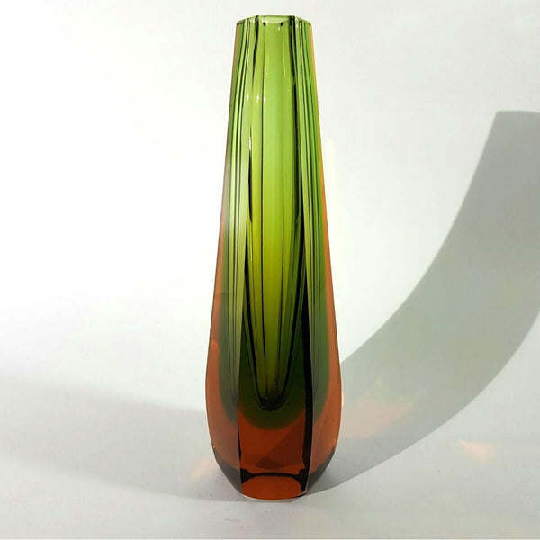 A Tapered Sommerso Faceted Glass Vase by WMF, Germany - Be Bold As Brass