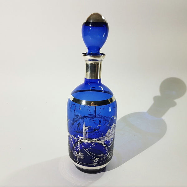 Italian Cobalt Blue Decanter with a Sterling Silver Overlay of a Venetian Scene - Be Bold As Brass
