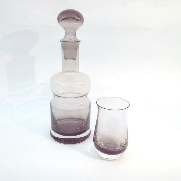 A Colin Terris for Caithness Waisted Decanter and Matching 'Peat' Coloured Glass Circa 1960