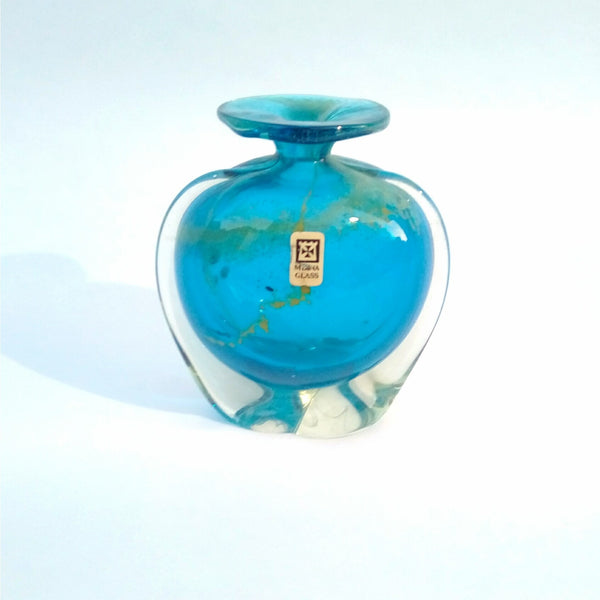 Micheal Harris Art glass Vase For Mdina In Blue Glass Adorned with Hints of Yellow