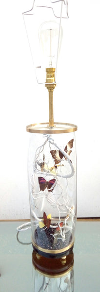 Large Bespoke Lamp In Brass & Glass featuring Antique and Vintage Butterflies Designed For Be Bold As Brass