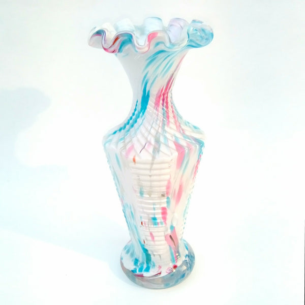 St Denis By Auguste Legras White Turquoise & Pink Spatter Vase Circa Late 19th Century