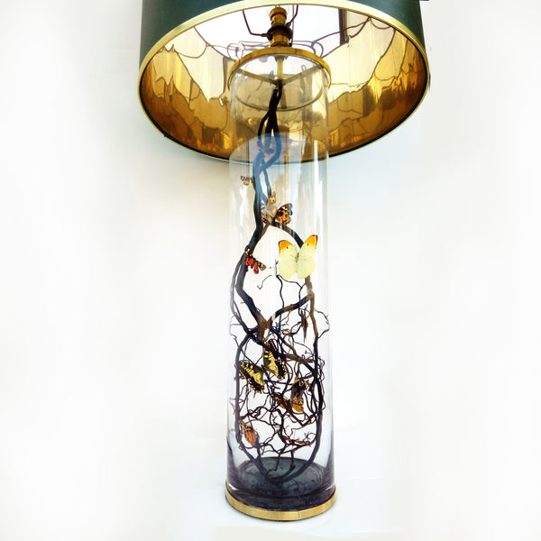 Large Bespoke Lamp In Brass & Glass featuring Antique and Vintage Butterflies designed exclusively for Be Bold As Brass