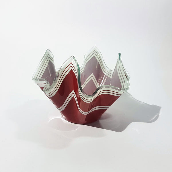 Red 'Bandel II' Pattern Chance Brothers Glass Handkerchief Vase - Be Bold As Brass