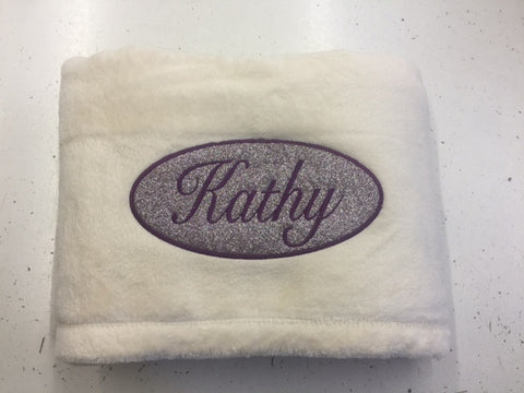 Super Plush Blanket with Glitter Oval and Embroidered Name