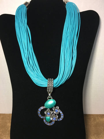Multi Strand Teal Necklace with Pendant
