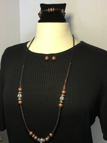 Brown Long Pearl Necklace, Bracelet and Earrings Set