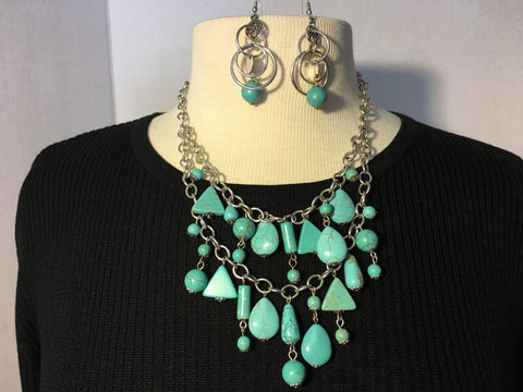Turquoise Teardrop Necklace with matching Earrings