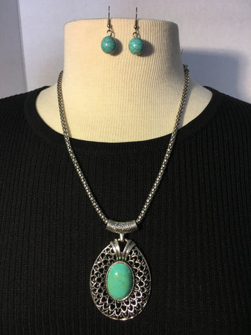 Antique Silver and Turquoise Necklace and Earrings Set
