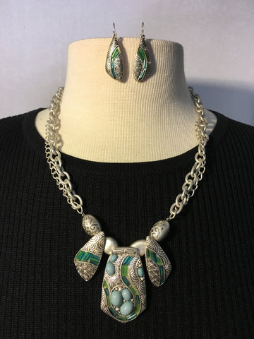 Antique Silver Necklace and Earrings Set