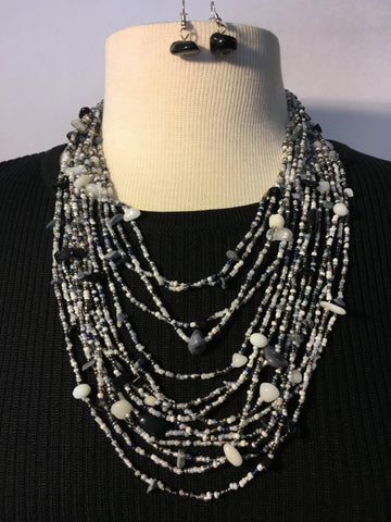 Multi Strand Stone and Bead Necklace Set