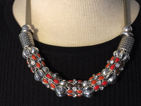 Silver and Red Necklace