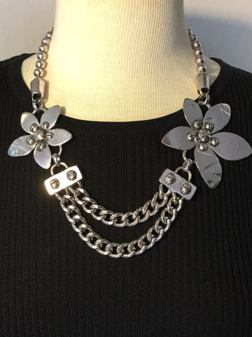 Silver Flower and Chain Statement Necklace