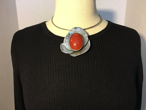 Chocker with Siver Burnt Orange Pendant