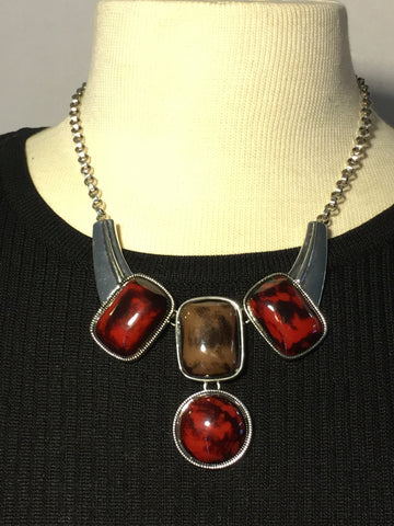 Red and Brown  Silver Necklace