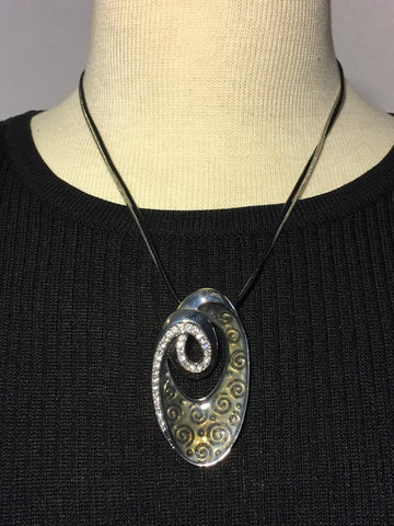Black Cord Necklace with stunning Pendant