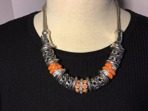 Orange Silver Metal Fashion Necklace