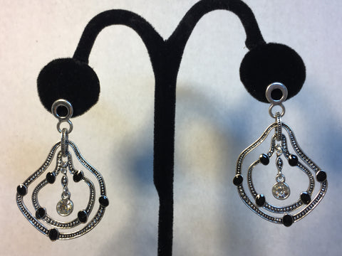 Drop Black Silver and Rhinestone Earrings