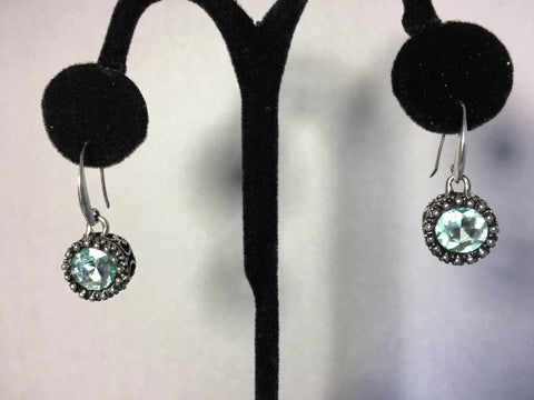 Silver Aqua Marine Blue Dropdown Earrings
