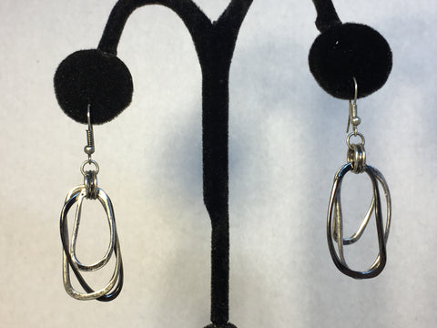 Oval Silver and Black Earrings
