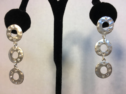 Triple Circle Silver and Rhinestone Earrings