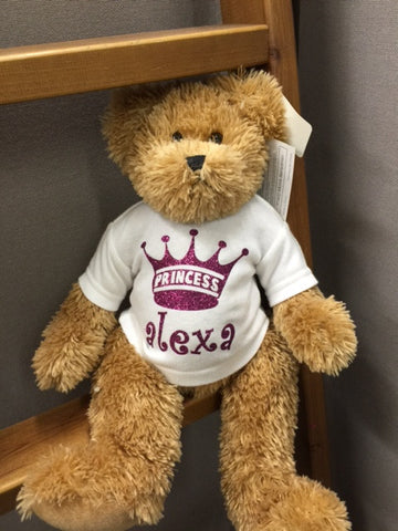 Teddy Bear with Glitter crown and name