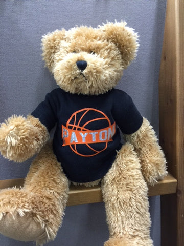 Teddy Bear with Black T-Shirt, Basketball with Name
