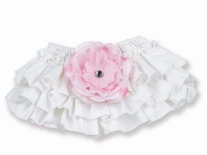 White Diaper Cover with Pink Flower