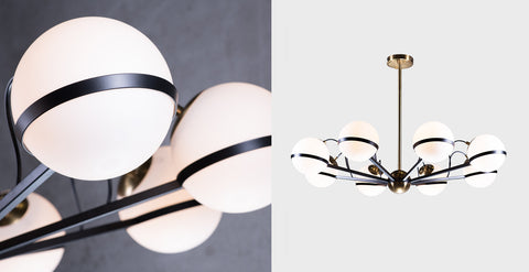 Alba Chandelier by The Vault shown from two different angles