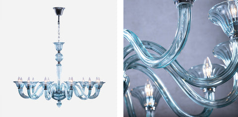 Two views of the Marcella glass fixture including a detailed view of the arm and a view of the full light fixture