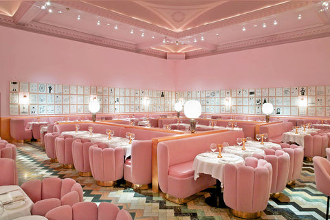 Interior of the Sketch restaurant in London which is decorated with Art Deco furniture and light fixtures