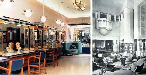 Interior of Hari's Hairdressers Salon, alongside a snapshot from an original 1930's lobby featuring Art Deco design
