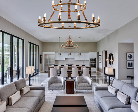 Redford Chandelier by The Vault installed in a living room