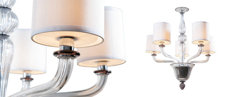 Sutton Chandelier by The Vault has 5 glass arms that hold white fabric shades