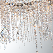 Close up of crystal pendants hanging from Astoria Crystal Chandelier