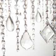 Close of view of shapes of pendant crystals on the Astoria Crystal Chandelier