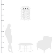 Bella Glass Bubbles Chandelier shown to scale with a side table and chair and a person