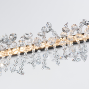 Detail view the clear beads and LED lights of Cadenza LED Light Round Chandelier