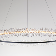 View of Cadenza LED Light Round Chandelier from the bottom highlighting lighting ring