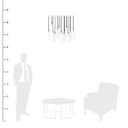 Eden Multi Spot Glass Pendants shown to scale with a side table, chair and person