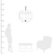 Galjour Murano Glass Chandelier shown to scale with a side table, chair and person
