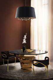 Isla Black Silk Shade Chandelier installed over a small dining set