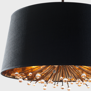 View of detail of Isla Chandelier showing the gold foil interior of the black silk shade