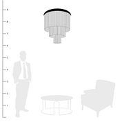 Jade Glass Chandelier shown to scale with a person, side table and chair