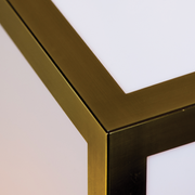 View of geometric brass corners of the Lamont Satin Brass Pendant